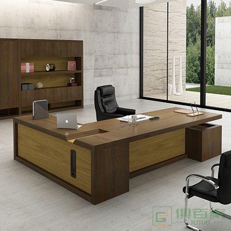 兆生家具方毅系列桌简约现代经理桌带侧柜活动小柜老板办公桌