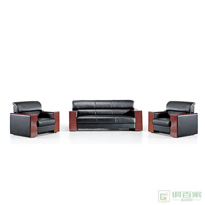 旭东升商务办公沙发简约现代接待会客洽谈办公室沙发真皮三人位组合