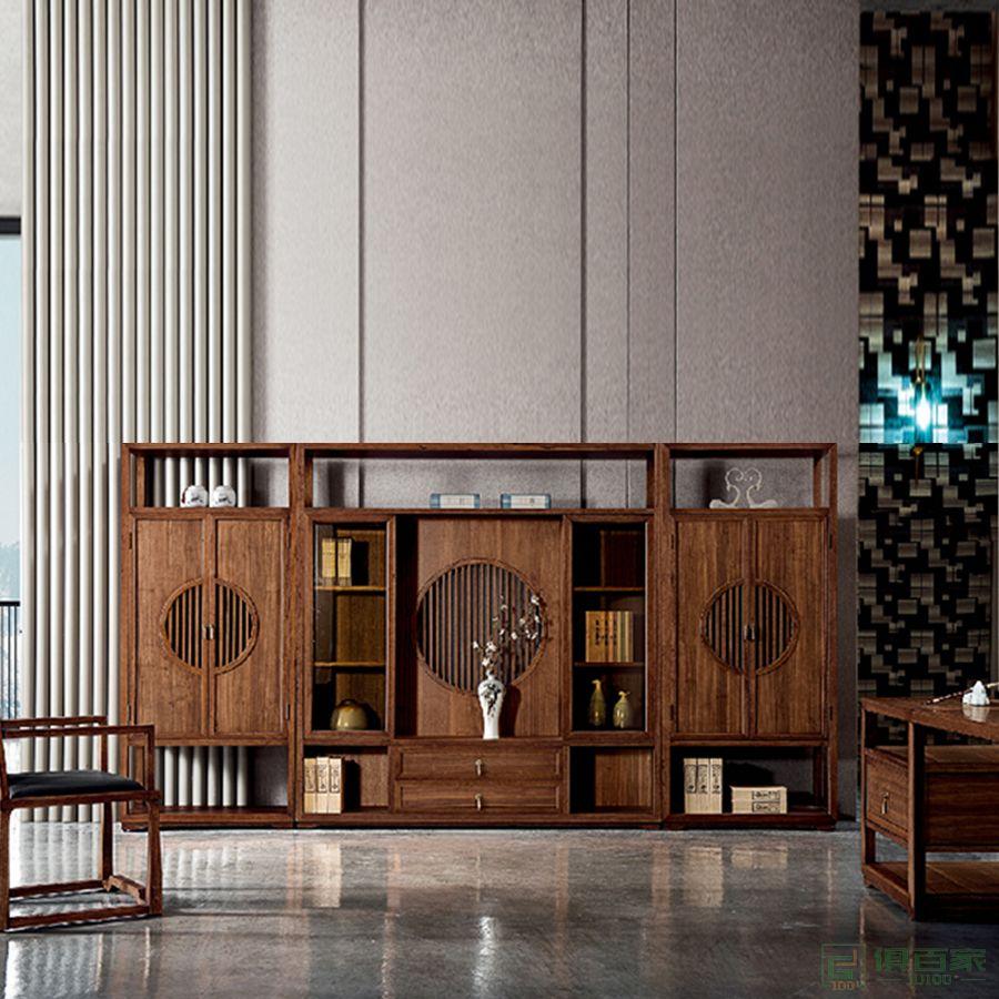 奥特莱斯家具圆意系列办公家具文件柜 木质高柜老板办公室书柜 简约现代资料柜背景柜子