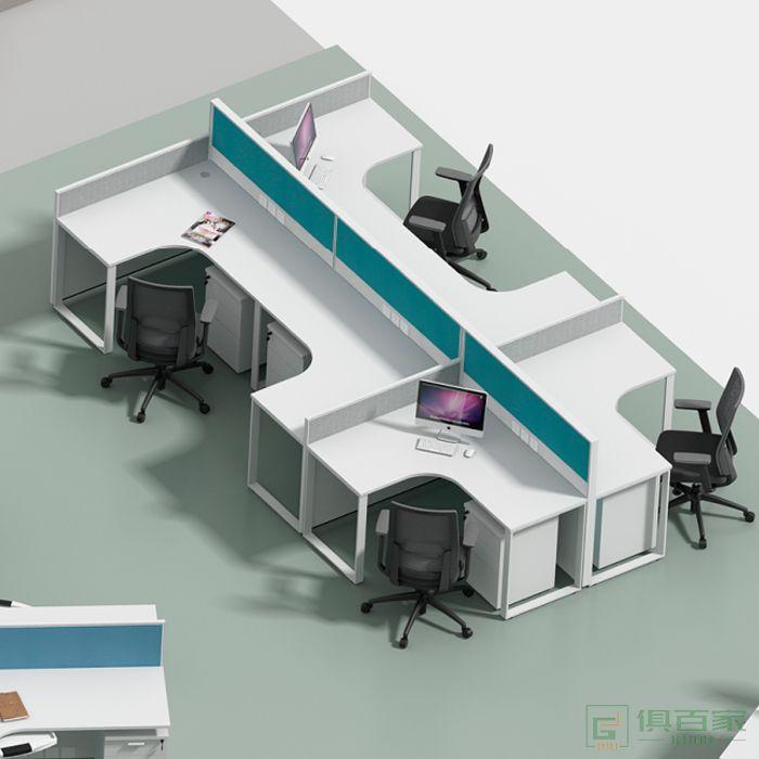 海沃氏电脑办公桌椅组合4职员桌六人工作台6单双人简约现代