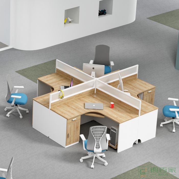 海沃氏职员桌四人位办公桌简约现代财务办公桌屏风双人电脑办公桌组合