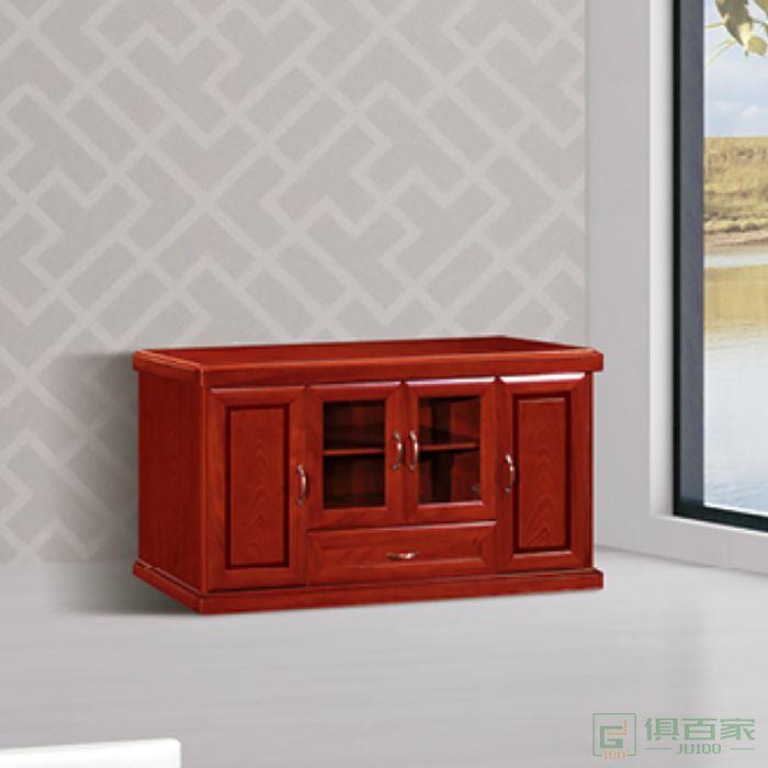 冠诚中式木质矮柜办公室茶水柜储物柜办公室柜子贴木皮油漆柜子