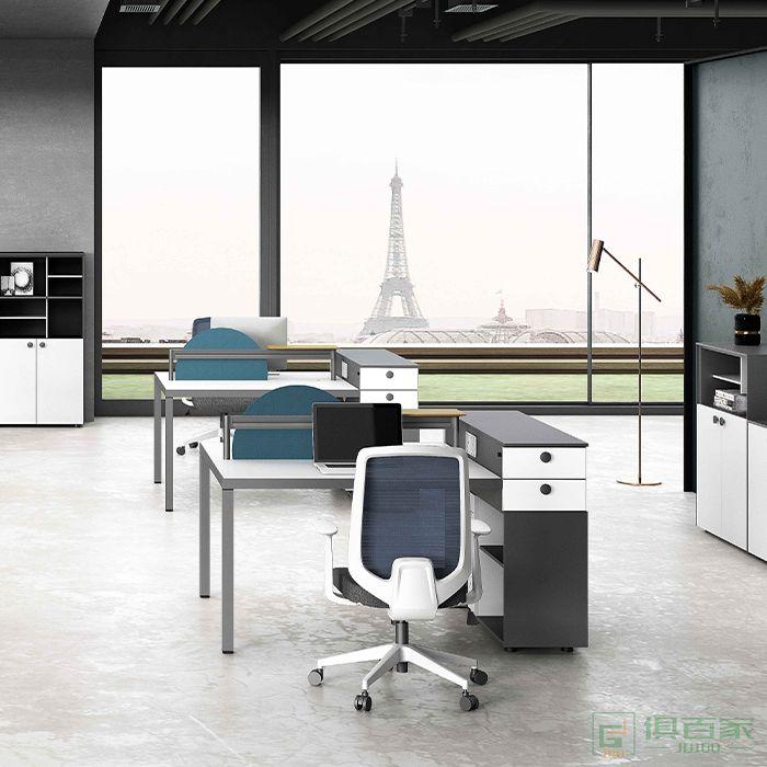 高卓家具斯诺系列办公桌职员四人位办公室桌椅组合电脑双人工位员工椅现代简约桌子