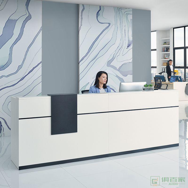 迪欧家具铭扬品牌前台接待台 简约现代收银柜公司烤漆前台办公室烤漆前台