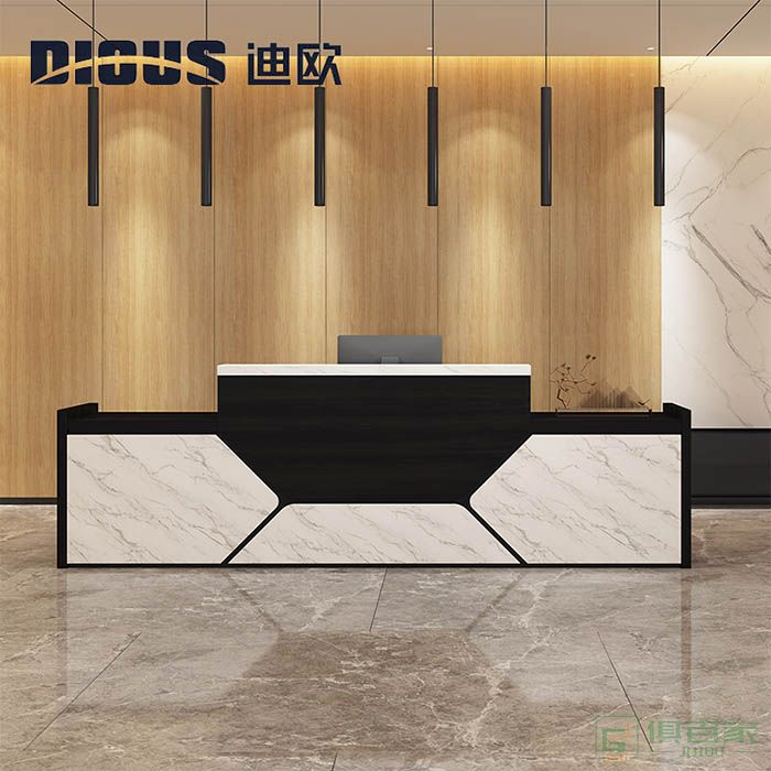 迪欧家具奔腾系列办公前台公司美容院接待台吧台柜简约长方形服装店收银柜台椅