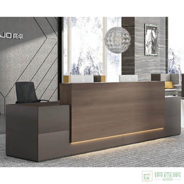 高卓公用系列办公室接待台白烤漆吧台简约收银台服务台定制现代公司前台办公桌
