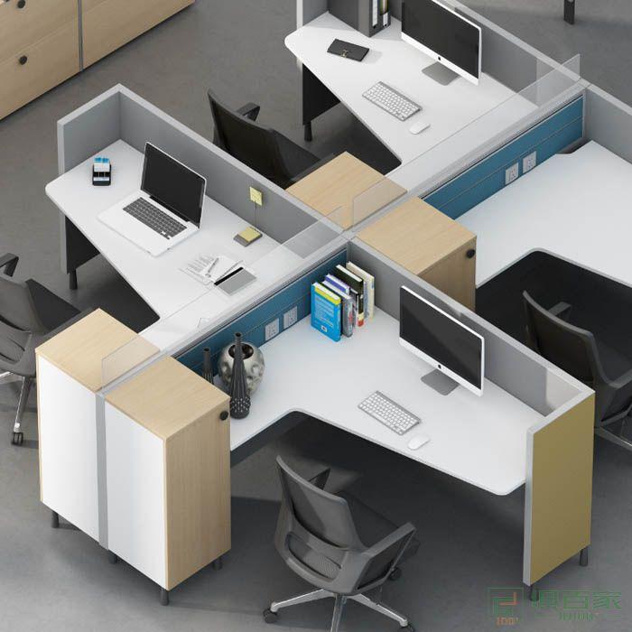高卓家具 库艾特系列带高柜并排两人位屏风位职员桌