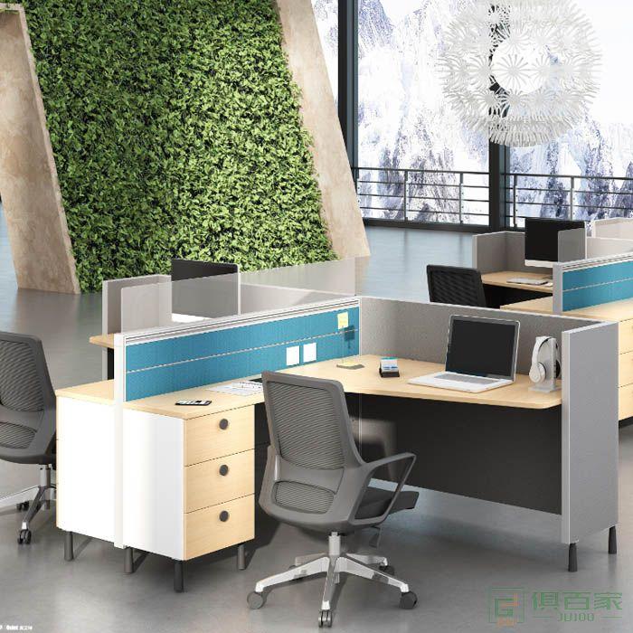 高卓家具库艾特系列并排两人位屏风位职员桌