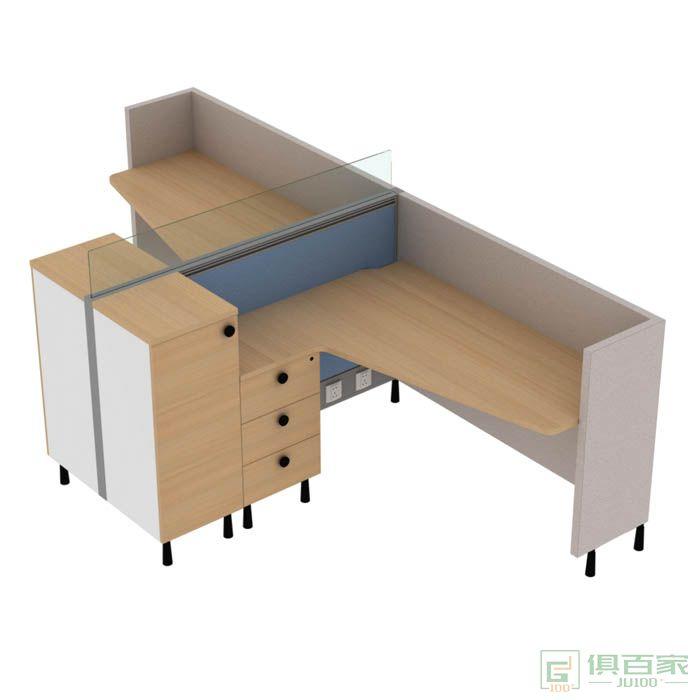 高卓家具库艾特系列连柜并排两人位屏风位职员桌