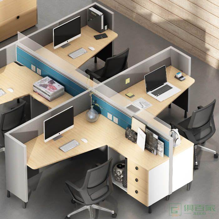 高卓家具库艾特系列并排两人位屏风桌职员桌
