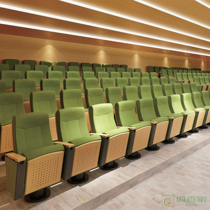 精一家具弘时系列高档礼堂椅排椅带写字板音乐厅