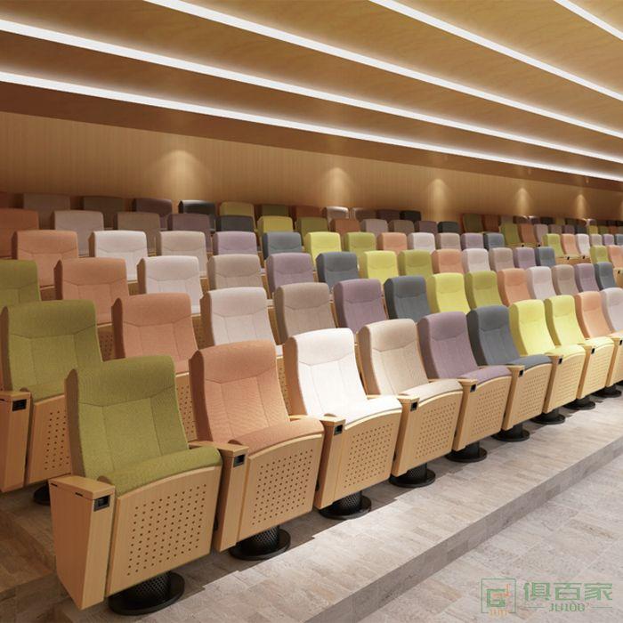 精一家具弘时系列礼堂椅排椅会议椅带写字板报告厅