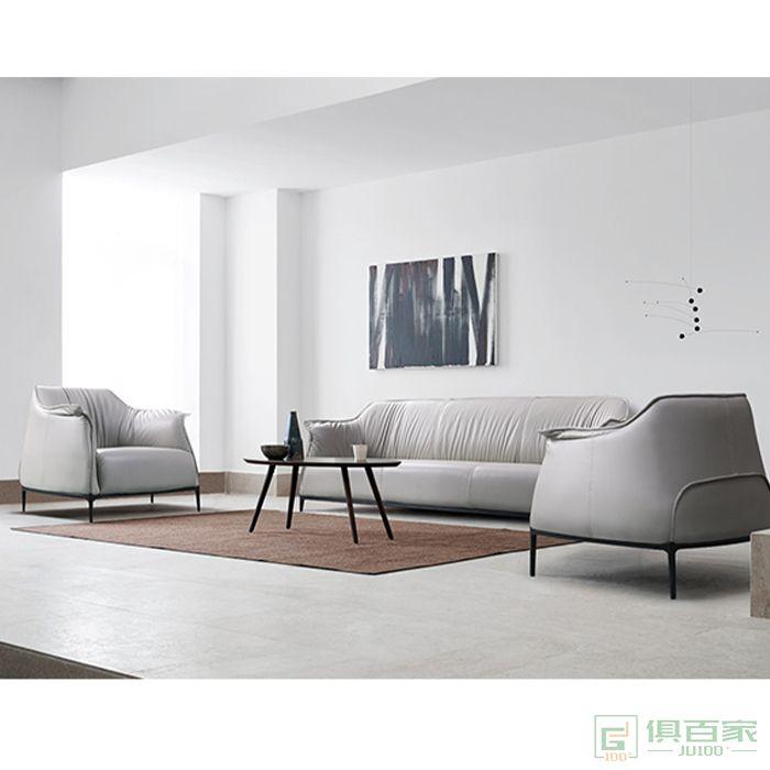 精一家具荔枝纹西皮沙发单人位三人位沙发