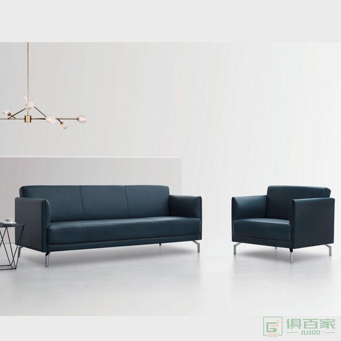 精一家具办公沙发商务接待室会客区简约现代真皮三人位