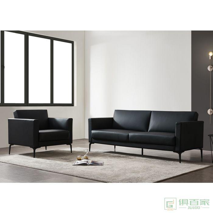 精一家具办公室沙发商务简易办公三人位休闲