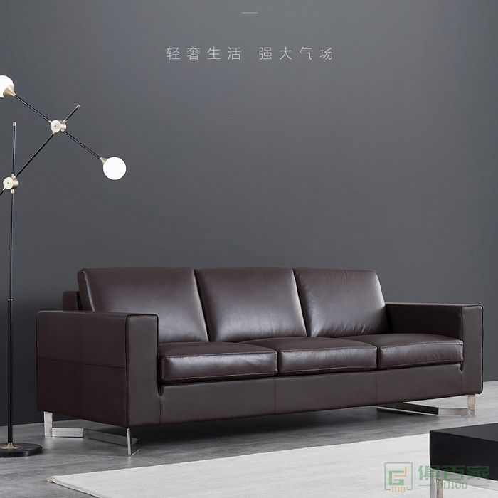 精一家具沙发商务会客个性创意沙发茶几组合简约现代三人位