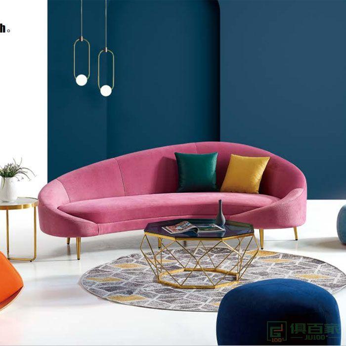 京图家具春风系列办公沙发轻奢简约现代弧形接待室会客区