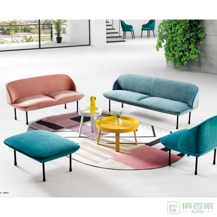 京图家具春风系列办公沙发简约现代接待三人位商务会客休闲