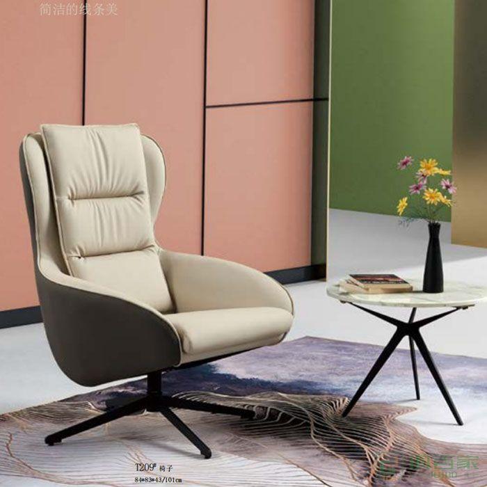 京图家具春风系列椅现代简约家用实木北欧布艺休闲靠背椅办公室椅子