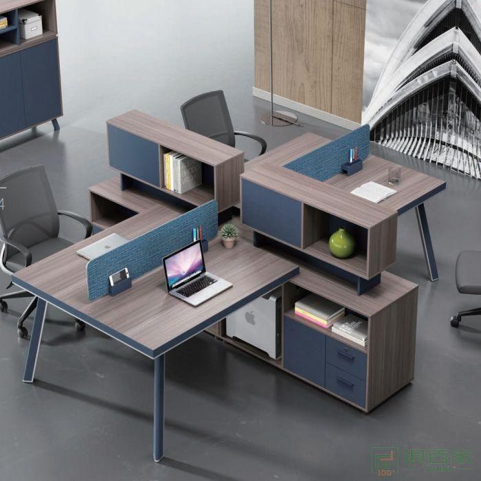 迪欧博尚家具LINE系列职员桌对坐四人位不含桌屏