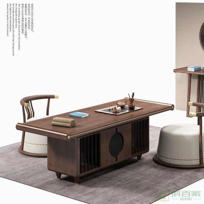 迪欧博尚家具行云系列泡茶桌实木功夫办公室茶台阳茶具桌
