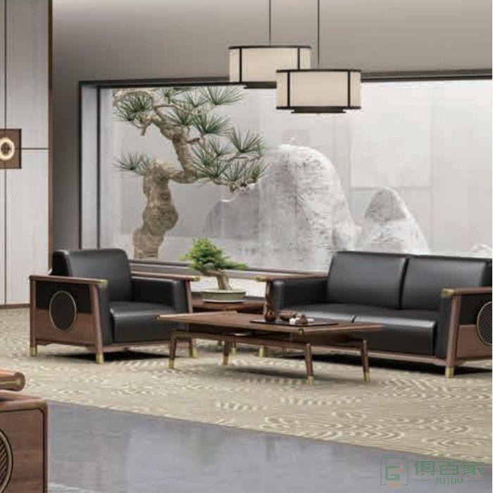 迪欧博尚家具行云系列办公沙发套装意式真皮三人位