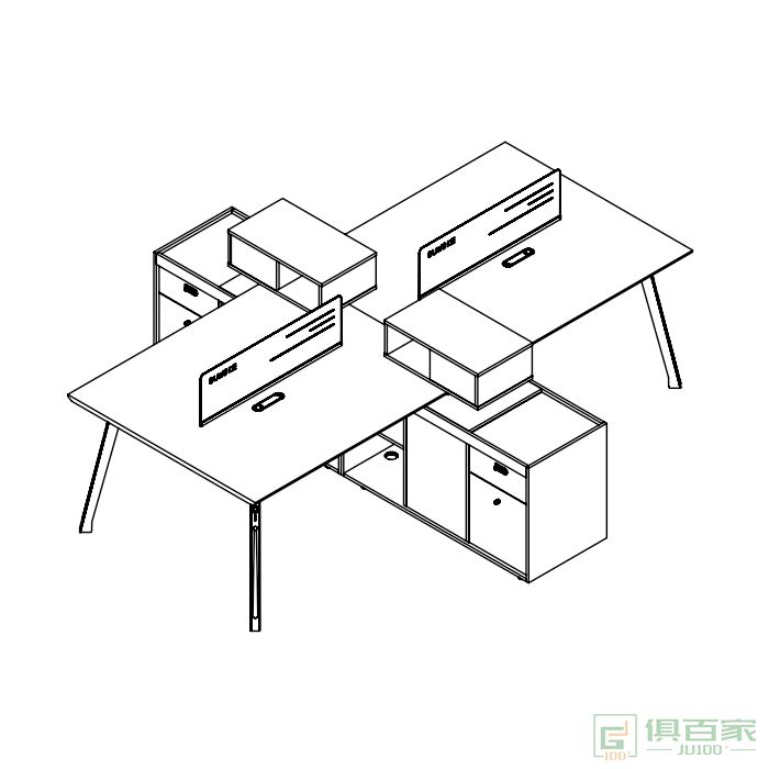 广立家具绅士系列简约现代办公家具4人职员桌
