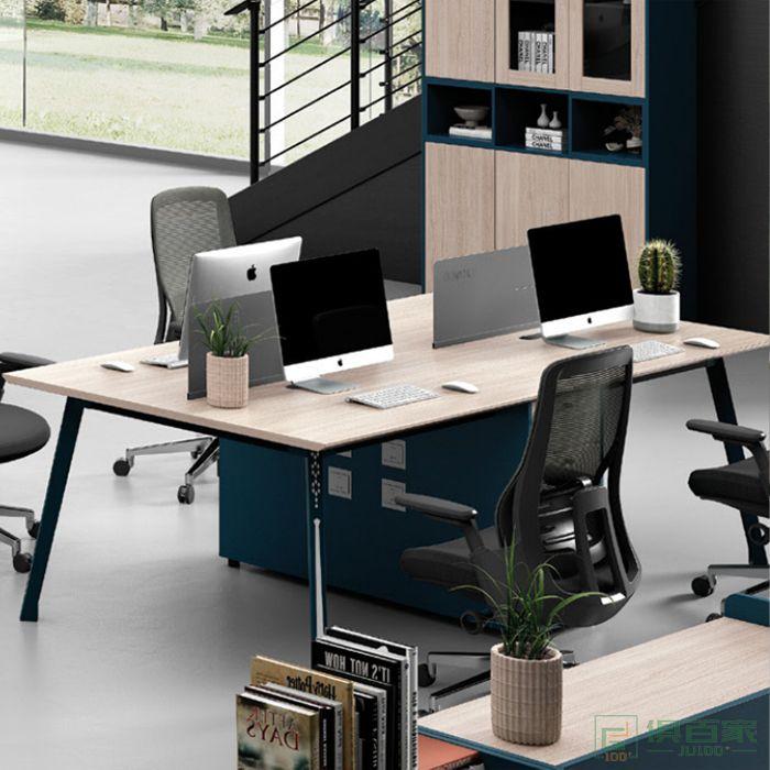 广立家具绅士系列现代4人位办公室员工工位卡位办公桌