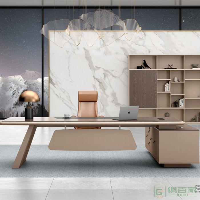 广立家具卡其系列老板桌总裁桌老板办公桌子简约现代单人