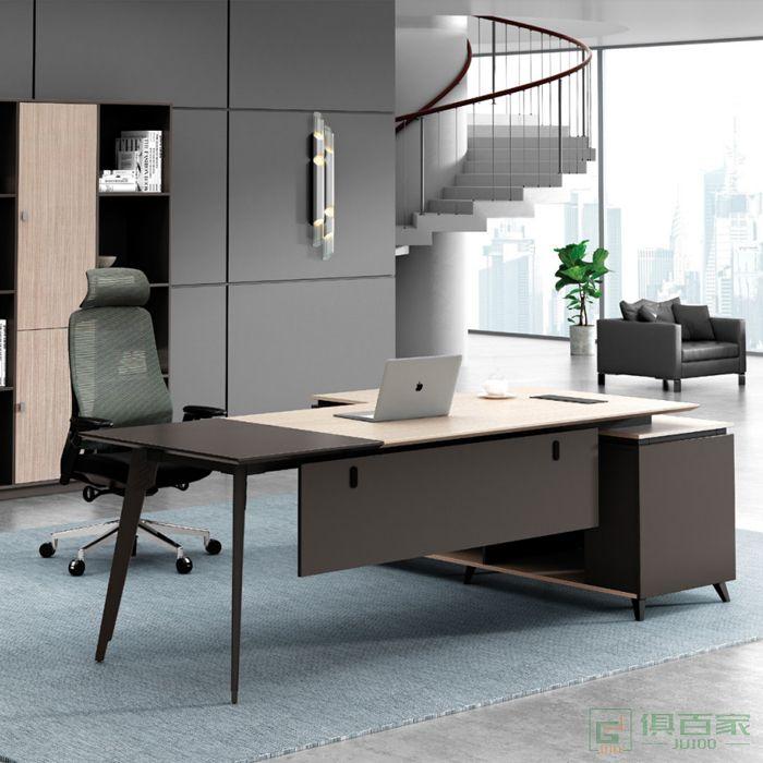 广立家具卡宾系列办公桌老板桌总裁桌子简约现代大班台
