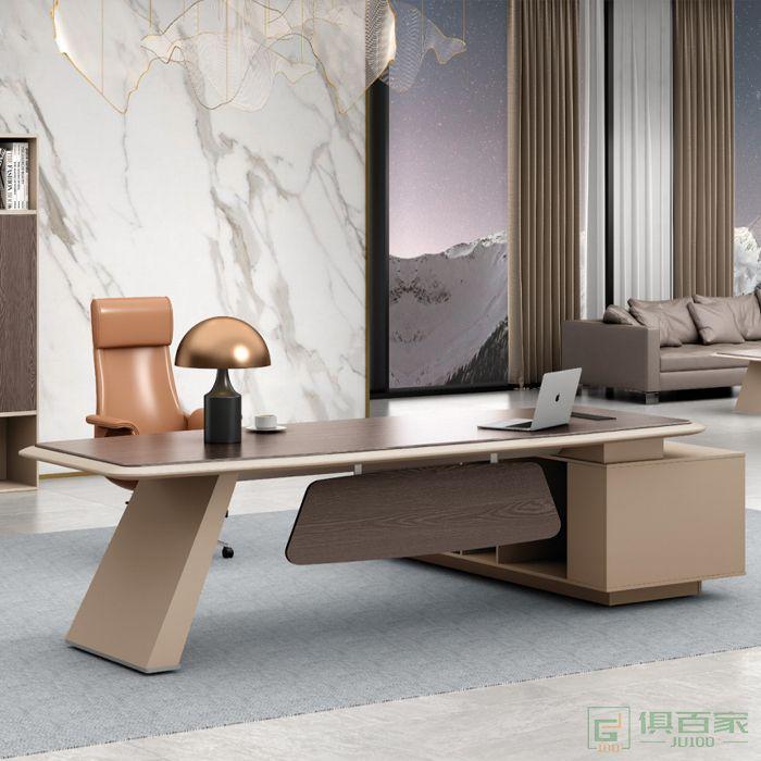 广立家具卡其系列老板桌总裁桌简约现代大班台大气经理办公桌