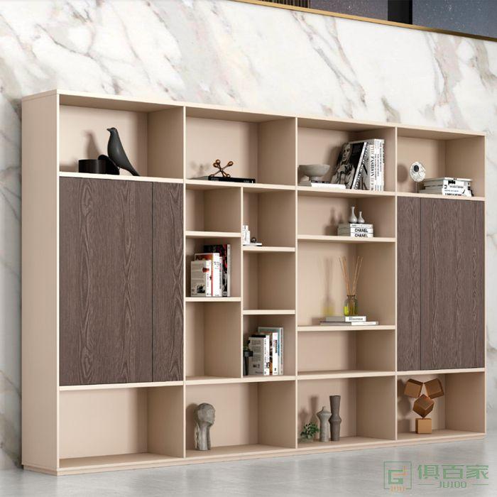 广立家具卡其系列文件柜木质老板办公室书柜背景柜