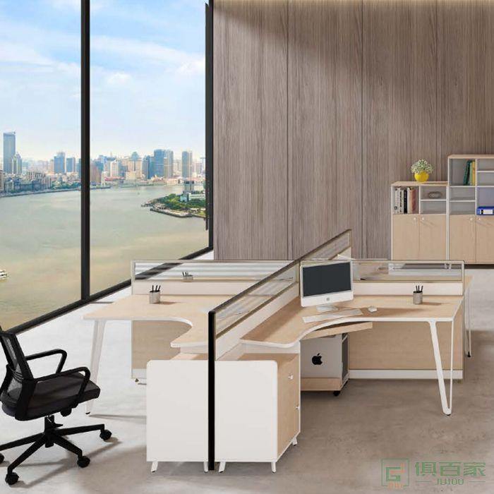 钜晟家具办公桌椅职员卡座简约现代4人办工屏风位