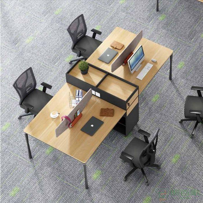 江南家具曲韵系列办公桌员工桌简约现代4人位四人位电脑桌