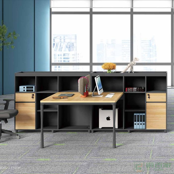 江南家具曲韵系列工位员工双人位创意简约职员桌