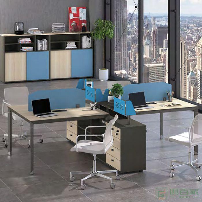 广立家具沃克系列职员桌对坐四人位