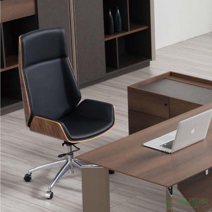 桦桂家具人体工学北欧转椅休闲椅班椅老板皮椅子